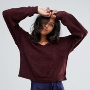 Free People Princess V Neck Sweater - wine